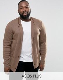 Asos Plus Knitted Blazer In Light Brown afbeelding