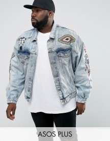 Asos Plus Oversized Denim Jacket With Embroidery In Blue Wash afbeelding
