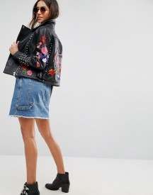 Asos Premium Leather Biker Jacket With Floral Embroidery And Stud Detail afbeelding