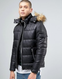 Asos Quilted Jacket With Fur Trim Hood In Black afbeelding