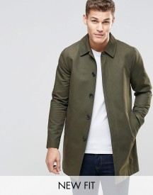 Asos Single Breasted Trench Coat With Shower Resistance In Khaki afbeelding