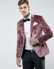 Asos Skinny Blazer In Purple Crushed Velvet afbeelding