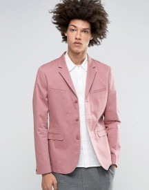 Asos Skinny Blazer In Washed Cotton In Pink afbeelding