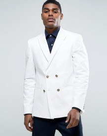 Asos Skinny Blazer In White With Gold Buttons afbeelding