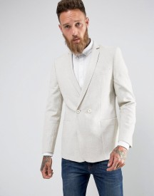 Asos Skinny Double Breasted Blazer In Oatmeal Texture afbeelding