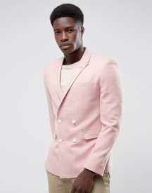 Asos Skinny Double Breasted Blazer In Pink Texture afbeelding