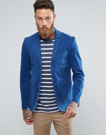 Asos Slim Blazer In Indigo Washed Cotton afbeelding