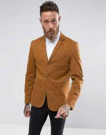 Asos Slim Blazer In Tan Washed Cotton afbeelding