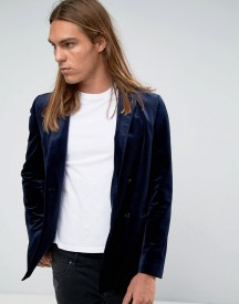 Asos Slim Double Breasted Blazer In Navy Velvet With Drawcord Back afbeelding