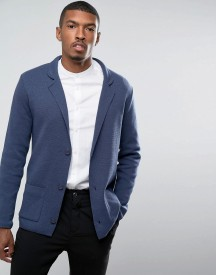 Asos Slim Fit Knitted Blazer In Navy afbeelding