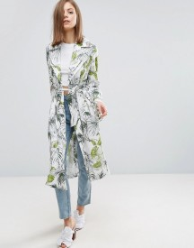Asos Soft Coat In Tropical Palm Print afbeelding