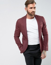 Asos Super Skinny Blazer In Burgundy Cotton afbeelding