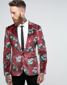 Asos Super Skinny Blazer In Burgundy Velvet With Blue Floral Print afbeelding