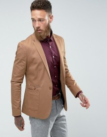 Asos Super Skinny Blazer In Camel Cotton afbeelding