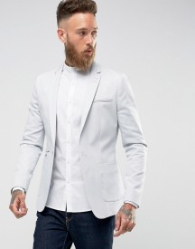 Asos Super Skinny Blazer In Light Grey Cotton afbeelding