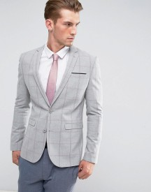 Asos Super Skinny Blazer With Pink Windowpane Check afbeelding