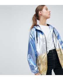 Asos Design Tall Metallic Panel Rain Jacket afbeelding