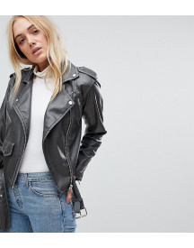 Asos Tall Leather Look Washed Biker Jacket afbeelding