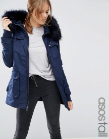 Asos Tall Parka With Quilted Lining And Fur Trim afbeelding