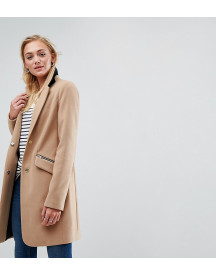 Asos Tall Slim Boyfriend Coat With Zip Pocket afbeelding