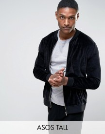 Asos Tall Bomber Jacket In Velour afbeelding