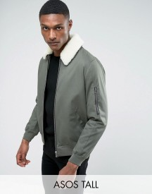 Asos Tall Cotton Bomber Jacket With Borg Collar In Khaki afbeelding