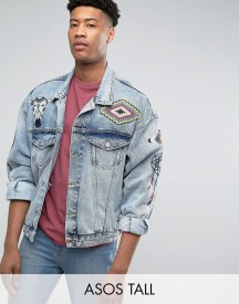 Asos Tall Denim Jacket In Oversized Fit With Embroidery In Blue Wash afbeelding