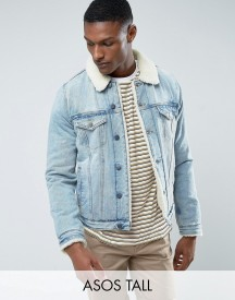 Asos Tall Fully Borg Lined Denim Jacket In Mid Wash afbeelding