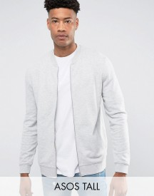 Asos Tall Jersey Bomber Jacket In Grey Marl afbeelding