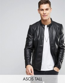 Asos Tall Leather Racing Biker Jacket In Black afbeelding