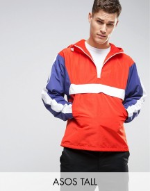 Asos Tall Overhead Windbreaker With Colour Block In Red afbeelding