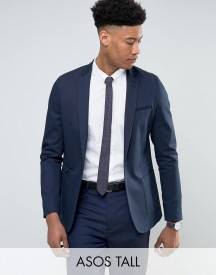 Asos Tall Skinny Blazer In Navy Cotton afbeelding