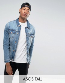 Asos Tall Skinny Denim Jacket In Mid Wash afbeelding
