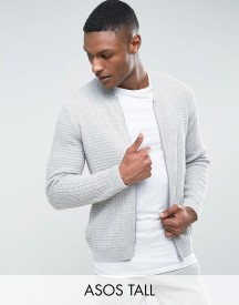 Asos Tall Textured Bomber Jacket In Pale Grey afbeelding