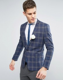 Asos Wedding Skinny Blazer In Linen Rich Lightweight Check afbeelding
