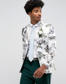 Asos Wedding Super Skinny Blazer With Watercolour Floral Print afbeelding