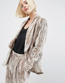 Asos White Crushed Velvet Smoking Jacket afbeelding