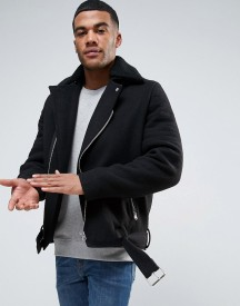 Asos Wool Mix Biker Jacket With Belt And Borg Collar In Black afbeelding