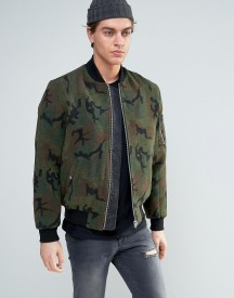 Asos Wool Mix Bomber Jacket In Camo Print afbeelding