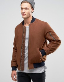 Asos Wool Mix Bomber Jacket With Ma1 Pocket In Dark Rust afbeelding