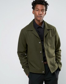 Asos Wool Mix Military Jacket With Chest Pocket In Khaki afbeelding