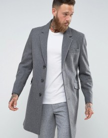 Asos Wool Mix Overcoat In Light Grey Marl afbeelding