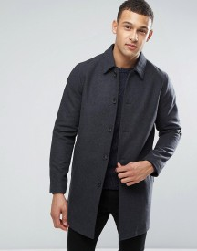Asos Wool Mix Trench Coat In Charcoal afbeelding