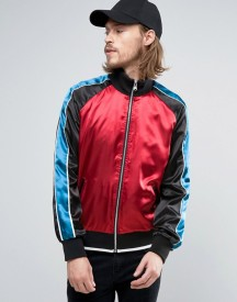 Asos Zip Through Overhead Jacket With With Cut And Sew Panels In Red afbeelding