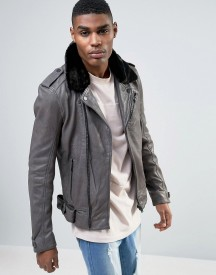Avior Leather Biker Jacket With Shearling Collar afbeelding