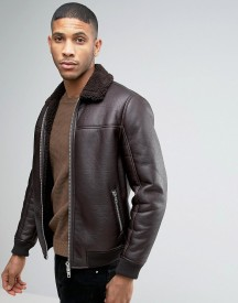 Barneys Faux Leather Bomber With Borg Collar Jacket afbeelding