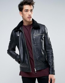 Barneys Leather Jacket With Sherpa Collar afbeelding