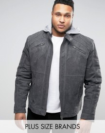 Barneys Plus Premium Suede Biker With Jersey Hoody Jacket afbeelding