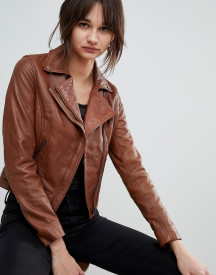 Barney's Originals Leather Biker Jacket With Diagonal Zip Detail afbeelding