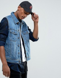Bershka Sleeveless Denim Jacket In Mid Wash afbeelding